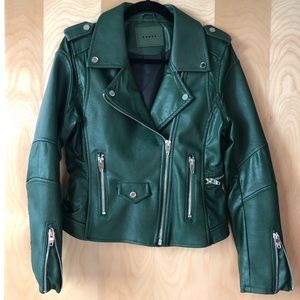 Blank NYC army green vegan leather moto jacket
